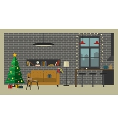 Christmas interior of living room vector
