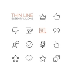Social network signs - thin line icons set vector