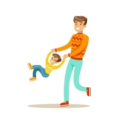 Dad swinging son holding his hands happy family vector