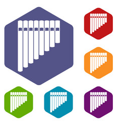Pan flute icons set vector