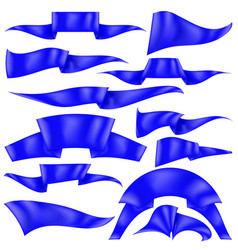 Set of blue ribbons flag collection vector