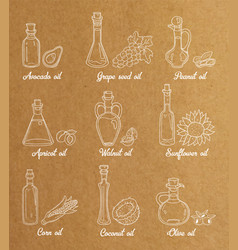 9 white cooking oils in vintage sepia style vector