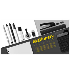 stationery scene with office supplies background vector image