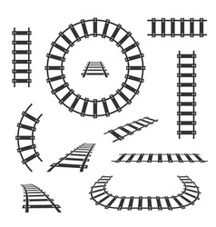 straight and curved railroad tracks black vector image