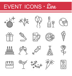 outline web icon set - party birthday holidays vector image