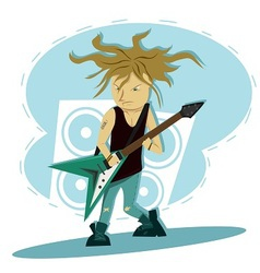 Hardcore guitar long hair player vector