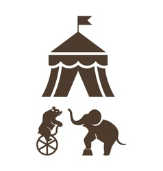 Set of silhouette circus icons vector