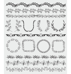 Black hand sketched seamless borders frames vector