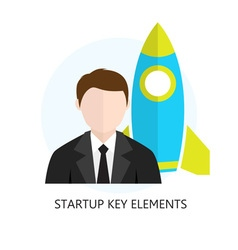 Startup key elements flat design icon vector