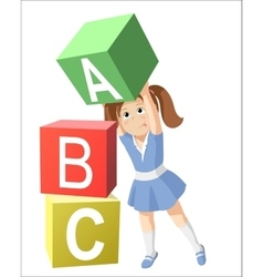 Smiling little girl studying the alphabet vector