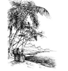 Treasure island sketch beautiful palm trees on sea vector