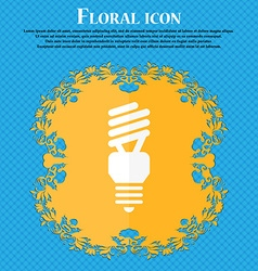 Fluorescent lamp icon floral flat design on a blue vector