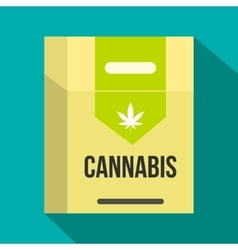 Cannabis cigarette box icon flat style vector