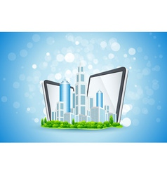 Blue Background with Business City and Tablet Comp vector image