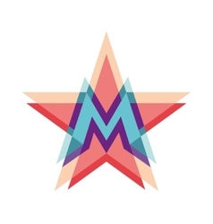 Five-point star logo with letter m vector