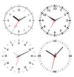 a set of four mechanical clocks vector image