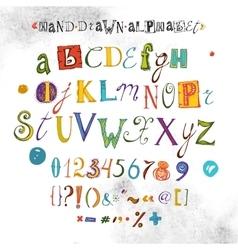 Alphabet Hand Drawn Font Letters vector image