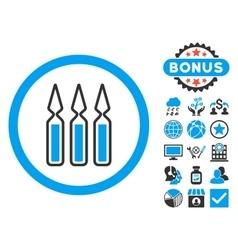 Ampoules flat icon with bonus vector