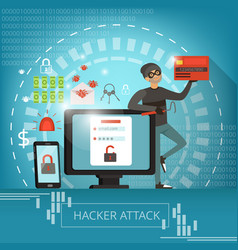Concept of computer crime and hacker vector