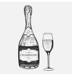Creative sketch of champagne composition vector