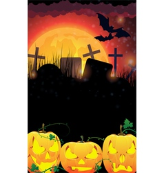 Evil Jack O Lanterns on a moon background vector image vector image