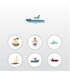 Flat icon boat set of boat delivery yacht and vector