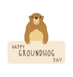 Happy groundhog day cute marmot vector
