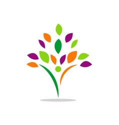 Happy man tree abstract beauty logo vector