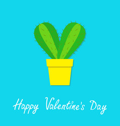Happy valentines day cactus heart icon in flower vector