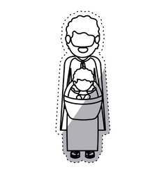 Isolated joseph and baby jesus design vector
