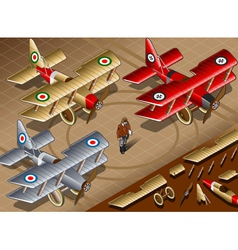 Isometric Old Vintage Biplanes in Front View vector image vector image