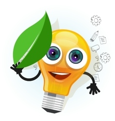 lamp bulb light leaf cartoon character smile happy vector image vector image