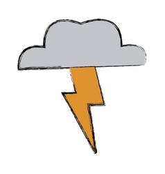 Lightning thunder cloud in cartoon free style hand vector