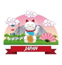 Lucky cat japan culture design vector