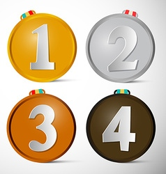 Medals Set First Second Third and Fourth Place vector image vector image