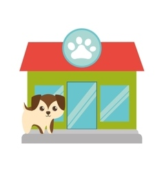 Puppy little brown pet shop facade paw print vector