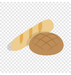Rye bread and loaf isometric icon vector