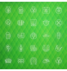 Saint patrick day thin line icons set vector