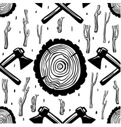 seamless pattern with axes and wood round split vector image vector image