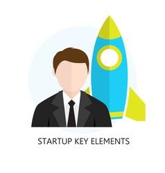 Startup key elements flat design icon vector