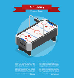 Table air hockey game banner card isometric view vector