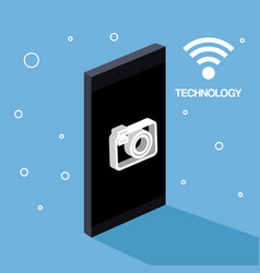 technology mobile phone camera photo wifi vector image vector image