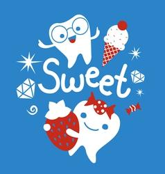 Tooth cartoon emblem vector image vector image