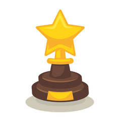 trophy in form of star on pedestal isolated on vector image vector image