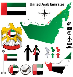 United Arab Emirates map vector image vector image