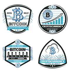 Vintage colored crypto currency emblems set vector