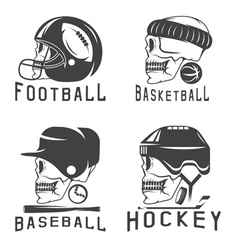 vintage sport labels set with skulls vector image