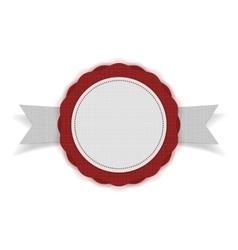 White blank emblem on red ribbon vector