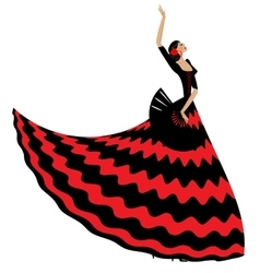 Woman flamenco with black fan vector