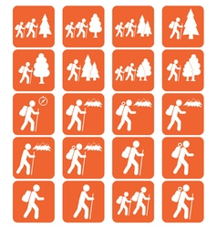 Set of hiking event icons vector